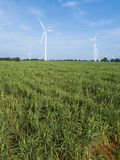 Wind turbines generating electricity. energy conservation concept stock photo