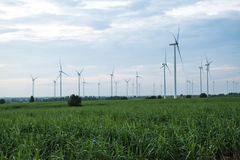 Wind turbines generating electricity. energy conservation concept royalty free stock photo