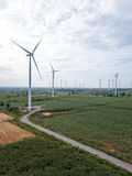 Wind turbines generating electricity. energy conservation concept royalty free stock photos