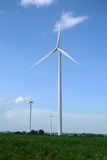 Wind turbines generating electricity. energy conservation concept stock photos