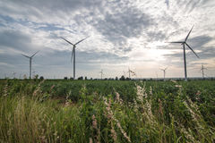 Wind turbines generating electricity. energy conservation concept stock photography