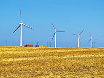 Wind turbines generating electricity on farmland. Stock Photo