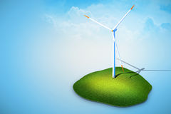 Wind turbines generating electricity. 3 rendered illustration of wind turbines generating electricity on blue background Royalty Free Stock Photos