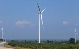 Wind turbines generating electricity renewable energy Stock Image