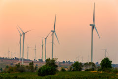 Wind turbines generating electricity, Thailand. Wind turbines generating electricity during sunset, Thailand royalty free stock images