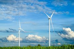 Wind turbines generating electricity. With blue sky in wind farm from Thailand royalty free stock photos