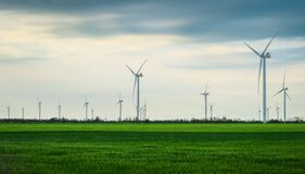 Free Wind Turbines Generating Electricity With Blue Sky - Energy Conservation Concept Royalty Free Stock Photos - 220353338