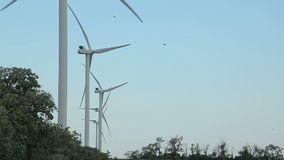 Wind turbines for generation power and electricity stock footage