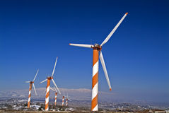 Wind Turbines in the Golan. Heights in Israel with snow Stock Photos