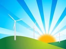 Wind turbines on green backgro. Illustration of wind turbines with green background and sun Stock Image