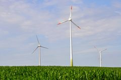 Wind turbines, eco energy. Wind turbines, green energy concept royalty free stock images