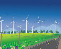 Wind turbines for green environment Royalty Free Stock Image