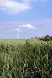 Wind turbines in green field. Wind turbines in a green field, against a blue sky with some white clouds. A path in the wheat leading deep Stock Photos
