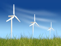 Wind turbines on green field royalty free stock photo