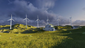 Wind turbines on a green field Stock Images