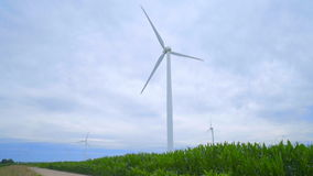 Wind turbines on green field. Rural landscape with wind generators. Renewable energy resource of future. Group of wind turbines generating electricity stock video