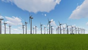 Wind turbines on a green field and sheep. Wind turbines on a green field and grazing sheep stock video