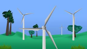 Wind turbines of green field with trees video animation. Renewable energy illustrative video animation stock video