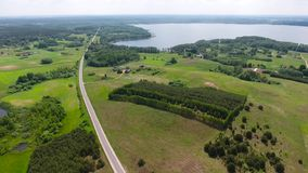 Wind turbines in green fields. Wind turbines in green meadows stock footage