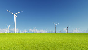 Wind Turbines on green grass 3D render.  Royalty Free Stock Photos