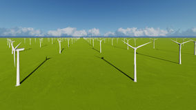 Wind Turbines on green grass 3D render.  Stock Images