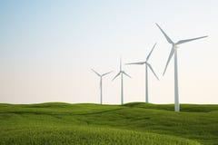 Wind turbines on green grass field. 3d rendering of wind turbines on a green grass field Stock Image