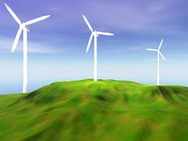 Wind turbines on green hill Royalty Free Stock Photos