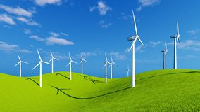 Wind turbines on green hills at sunny day Stock Images