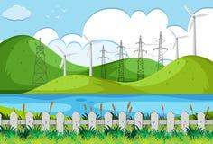 Wind turbines on green hills. Illustration Stock Photography