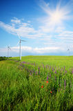 Wind turbines on green meadow Royalty Free Stock Photography