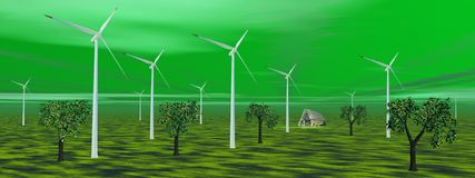 Wind turbines in green nature Stock Photos