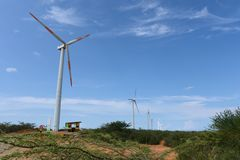 Wind turbines on the Guajira Peninsula. Reception of electric energy on the Guajira Peninsula Stock Images