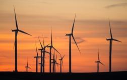 Wind Turbines High Hill Green Energy Generate Power Sunset Stock Photos