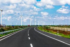 Wind turbines highways Stock Image