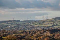 Wind turbines on the hill Stock Photo