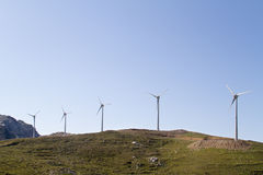 Wind turbines on a hill. On the isle of Crete, Greece Royalty Free Stock Image