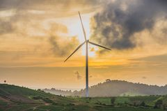 Wind Turbines on the Hill in Khao Kho. royalty free stock photos