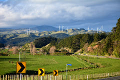 Wind turbines on hills Stock Image