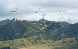 Wind Turbines on hillside Stock Photo