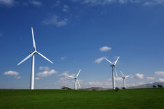 Wind turbines on a hillside Stock Photos