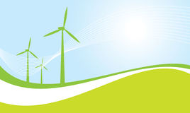 Wind turbines  illustration. Wind powered generators mural  illustration Stock Image