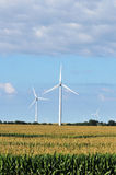 Wind Turbines In Corn Field Stock Photo