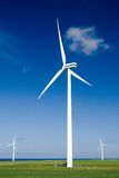 Wind Turbines In Green Field Royalty Free Stock Photos