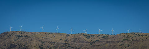 Wind Turbines In The Columbia River Gorge Stock Photo