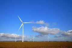 Wind Turbines In The Field Stock Photos