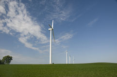 Wind Turbines on Iowa Soybean Crop Royalty Free Stock Image