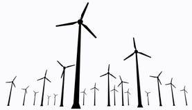 Wind turbines isolated. Isolated wind turbines silhouette. Energy windmills farm on white background Royalty Free Stock Photos