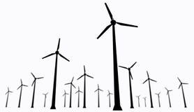 Wind turbines isolated. Isolated wind turbines silhouette. Energy windmills farm on white background Stock Photo