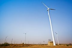 Wind turbines, Jaisalmer, Rajasthan, India Royalty Free Stock Images