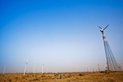 Wind turbines, Jaisalmer, Rajasthan, India Stock Photo